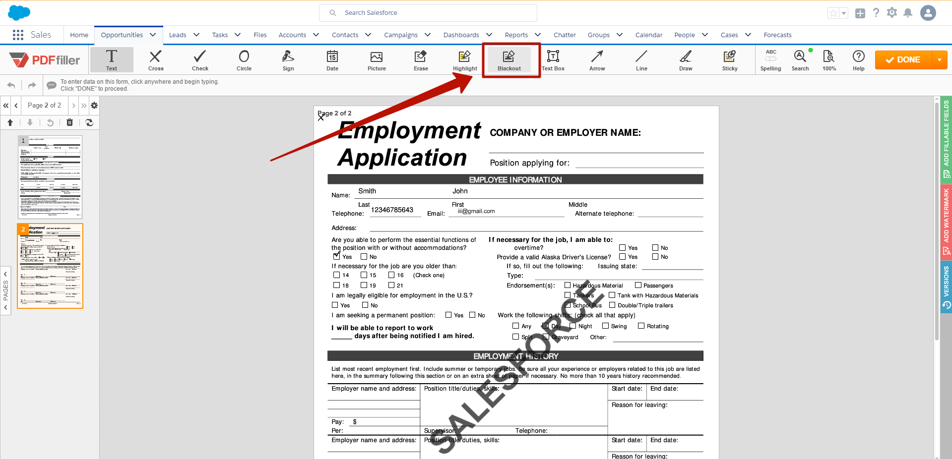 DaDaDocs integration with Salesforce account
