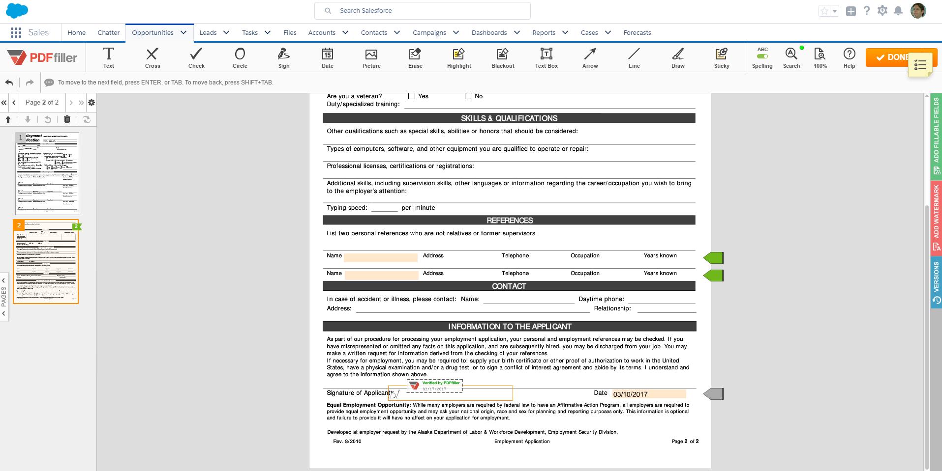 DaDaDocs integrates with Salesforce account