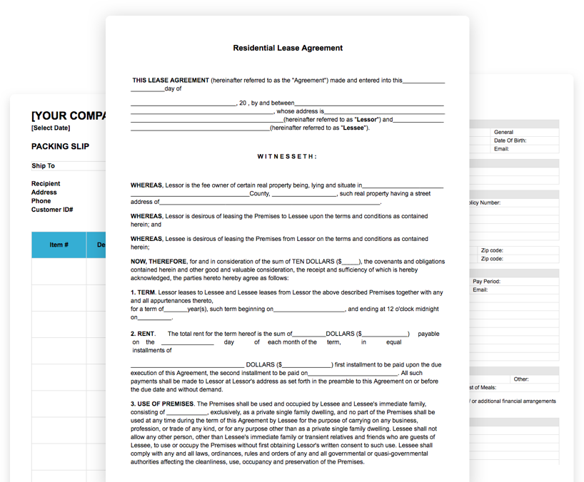 Free Rental lease form Template online